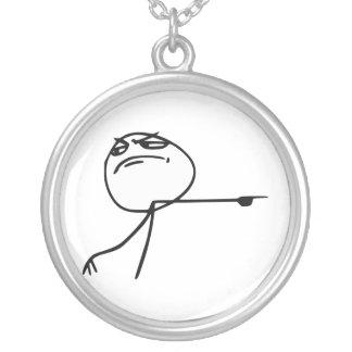 GTFO Get Out Guy Rage Face Comic Meme Round Pendant Necklace