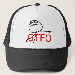 GTFO Get Out Guy Rage Face Comic Meme Trucker Hat