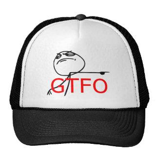 GTFO salen de la cara Meme cómico de la rabia del Gorro
