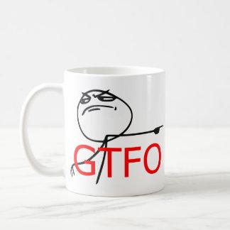 GTFO salen de la cara Meme cómico de la rabia del  Tazas De Café