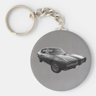 GTO in 1968 brushed steel Basic Round Button Keychain