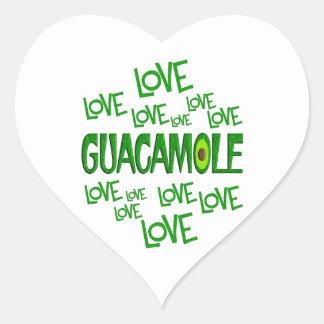 Guacamole del amor del amor pegatina en forma de corazón