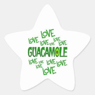 Guacamole del amor del amor pegatina en forma de estrella