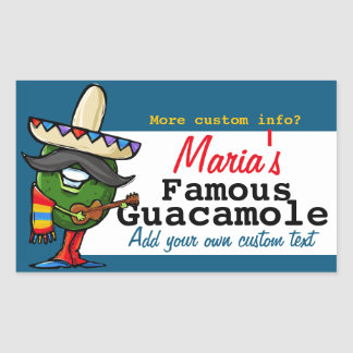 Guacamole Mexican Customizable Food Gift Jar Label Rectangular Sticker