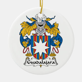 Guadalajara Family Crest Double-Sided Ceramic Round Christmas Ornament