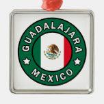 Guadalajara México Adorno Navideño Cuadrado De Metal