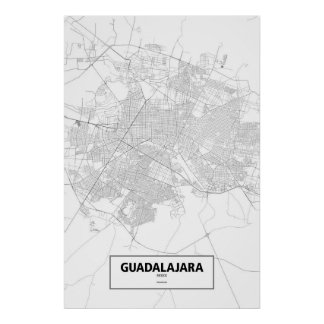 Guadalajara, Mexico (black on white) Poster