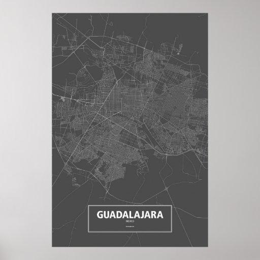 Guadalajara, Mexico (white on black) Print