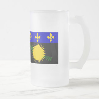 Guadaloupe Flag Frosted Glass Beer Mug