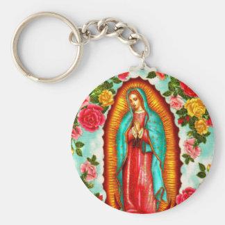 Guadalupe Basic Round Button Keychain