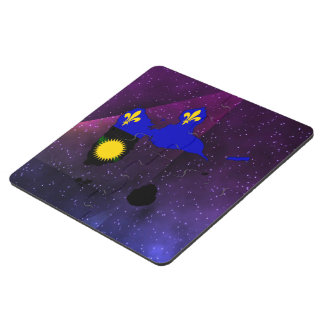 Guadeloupe Flag Map on abstract space background Puzzle Coaster