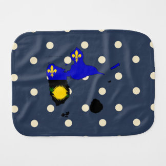 Guadeloupe Flag Map on Polka Dots Baby Burp Cloth