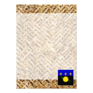 Guadeloupe Flag on Textile themed Card