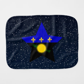 Guadeloupe Flag Star In Space Burp Cloth