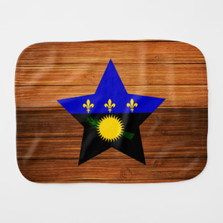 Guadeloupe Flag Star on Wood Burp Cloths