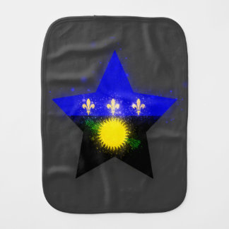 Guadeloupe Flag Star Shining Burp Cloths