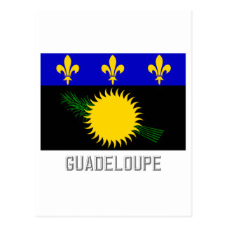 Guadeloupe flag with name postcard