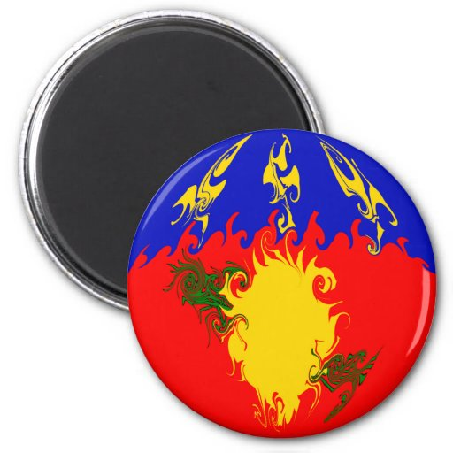 Guadeloupe Gnarly Flag 2 Inch Round Magnet
