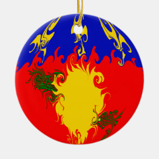 Guadeloupe Gnarly Flag Ceramic Ornament