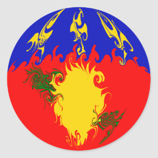 Guadeloupe Gnarly Flag Classic Round Sticker