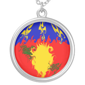 Guadeloupe Gnarly Flag Round Pendant Necklace