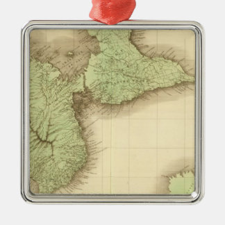 Guadeloupe Square Metal Christmas Ornament