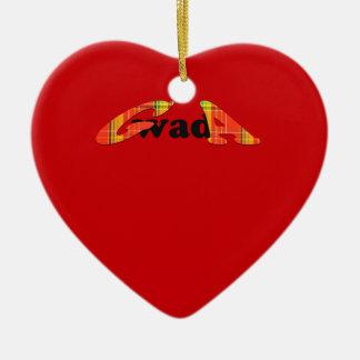Guadeloupe ornament: gwada Madras Double-Sided Heart Ceramic Christmas Ornament