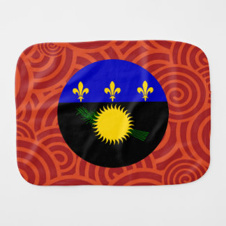 Guadeloupe round flag baby burp cloth
