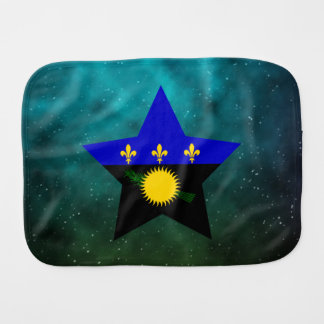 Guadeloupe Star Design Flag Baby Burp Cloth