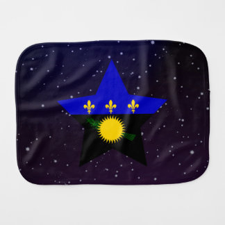 Guadeloupe Star Design Flag Baby Burp Cloths