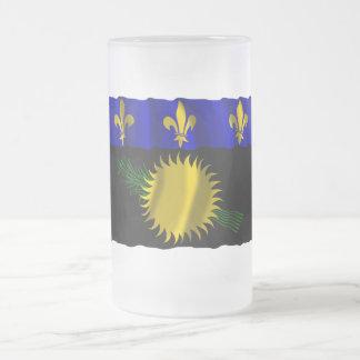 Guadeloupe waving flag coffee mugs
