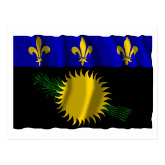 Guadeloupe waving flag postcard