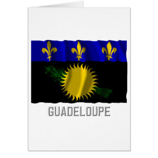 Guadeloupe waving flag with name card