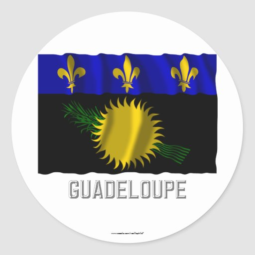 Guadeloupe waving flag with name classic round sticker