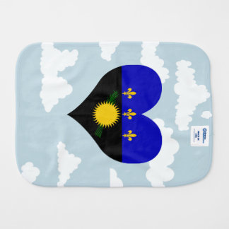 Guadeloupean Flag on a cloudy background Baby Burp Cloth