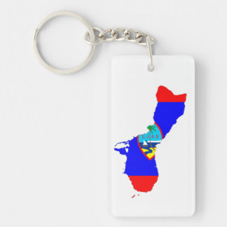 guam country flag map shape silhouette keychain