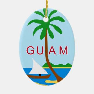 GUAM - emblema/bandera/escudo de armas/símbolo Adorno Navideño Ovalado De Cerámica