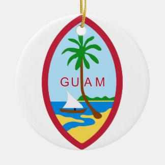 GUAM - emblema/bandera/escudo de armas/símbolo Adorno Navideño Redondo De Cerámica