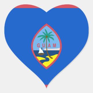 Guam Flag GU Heart Stickers