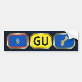 Guam Flag Map Code Bumper Sticker Car Bumper Sticker