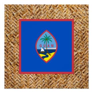 Guam Flag on Textile themed Poster