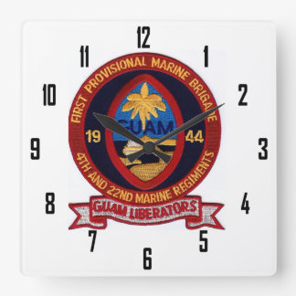 GUAM LIBERATORS 4th & 22nd MARINE REGIMENTS Square Wall Clock