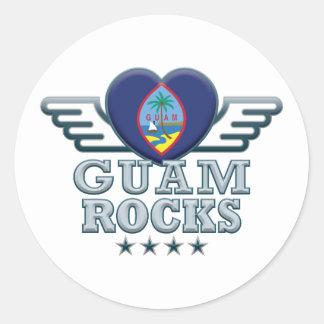Guam Rock v2 Round Stickers