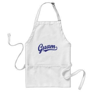 Guam script logo in blue adult apron
