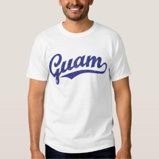 Guam script logo in blue distressed tee shirt