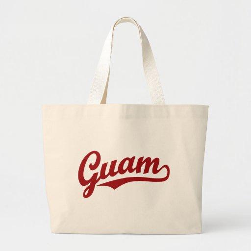 Guam script logo in red bags