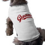 Guam script logo in red dog tee shirt