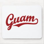 Guam script logo in red mouse pad