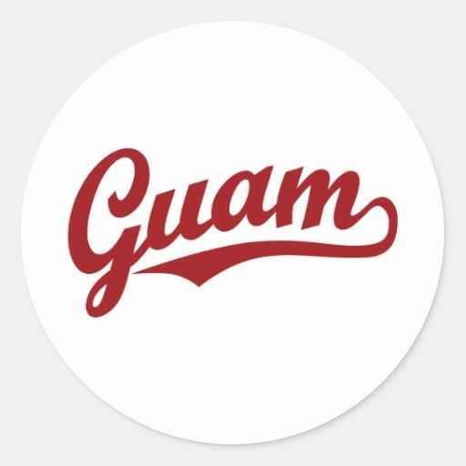 Guam script logo in red sticker