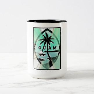 Guam Seal w Sun Rays Two-Tone Coffee Mug